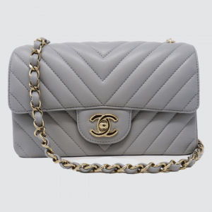 Classic Chanel Mini Flap Bag In Grey